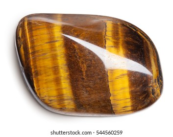 Tiger's eye stone isolated on white with clipping path