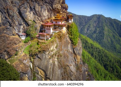 Tiger's Nest Monastery, Paro Taktsang, located high on a cliff in Paro, Bhutan, beautiful scenery and background of mountains and trees