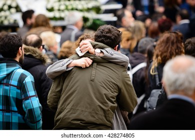 Tight hug in the middle of the street