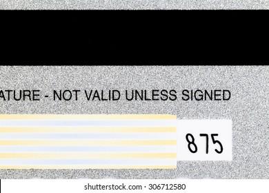 Tight Shot Back Of Credit Card Detail