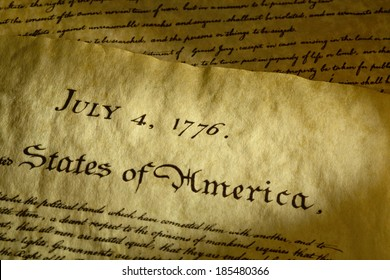 Tight shot of date on the Declaration of Independence that was signed on July 4th, 1776. Adoption of this historical document lead to the War for Independence between the colonists and England.