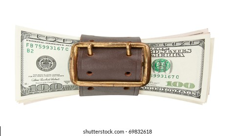 Tighten belt and stack of dollars. Isolated on white