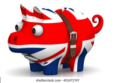 Tightened with a strap pig piggy bank with bulging eyes, in the color of the Great Britain flag on a white surface. The concept of economic crisis in United Kingdom. Isolated. 3D Illustration