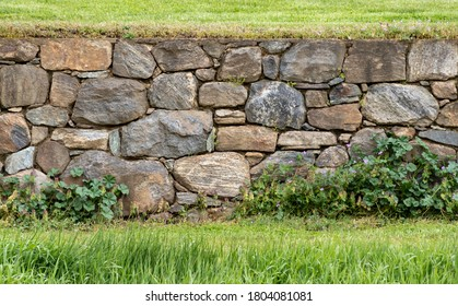 Tightly Constructed Beautiful Old Stone Wall in a Field at Stroud Preserve, Chester County, Pennsylvania, USA