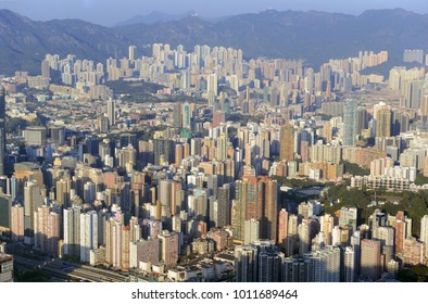 Tightly packed buildings in the metropolis of Hong Kong, China
