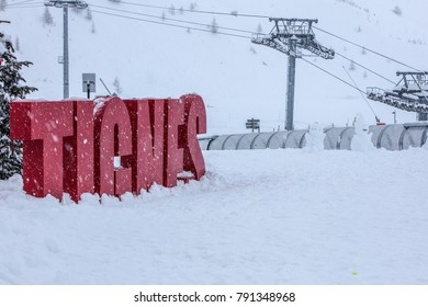Tignes, French Alps, France, 4 January 2018 experiences heaviest snowfall in 20 years. Due to risk of avalanches pistes were closed and tourists were scarce, opting to stay indoors.