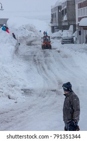 Tignes, French Alps, France, 4 January 2018 experiences heaviest snowfall in 20 years. Due to risk of avalanches pistes were closed and tourists were scarce. Authorities work hard to clear roads.