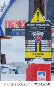 Tignes, French Alps, France, 4 January 2018 experiences heaviest snowfall in 20 years. Due to risk of avalanches pistes were closed.