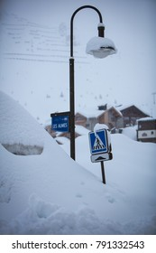 Tignes, French Alps, France, January 2018 experiences heaviest snowfall in 20 years, creating gridlock on motorways & travel disruption with curfews & piste closures due to fears of avalanches.