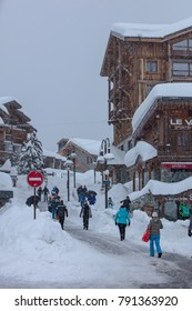 Tignes, French Alps, France, January 2018 experiences heaviest snowfall in 20 years. Due to risk of avalanches pistes were closed and tourists had to find other things to do.