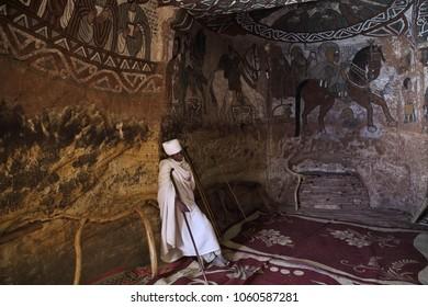 TIGRAY REGION, ETHIOPIA - February 10, 2018: a priest inside of Abuna Yemata Guh church