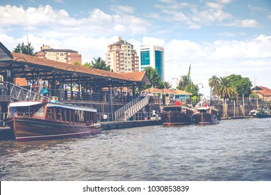 TIGRE, ARGENTINA - JANUARY 31, 2018 : Maritime transport in El Tigre port. Tigre is an important city in the province of Buenos Aires, Argentina.