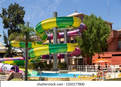 Tigre, Buenos Aires, Argentina Jan 24 2019: Colourful plastic slides in aquapark. Water slides in the water park