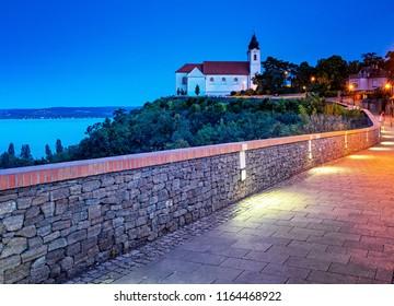 Tihany abbey in blue hour