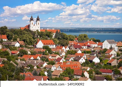 Tihany Abbey with the village and the Lake Balaton in the back in Hungary