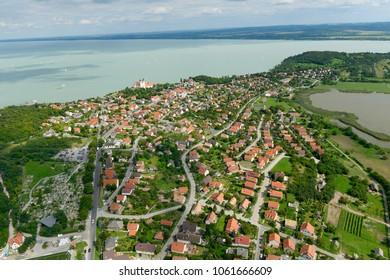 Tihany aerial landscape Balaton Hungary with drone