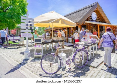 Tihany, Hungary - 25.05.2018: Lavender shops in Tihany Hungary with Tourist any purple bicycle