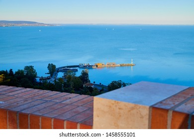 Tihany, Hungary - September 27, 2018: View of the Lake Balaton from Tihany on a sunny day. Ship on lake Balaton at sunset
