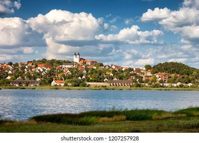 Tihany village with the abbey and the innert lake in the front at Lake Balaton, Hungary