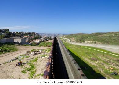 Tijuana, Baja California, Mexico - February 2, 2017. View above the border fence Separating U.S. from Mexico, photographed in Tijuana, Mexico.