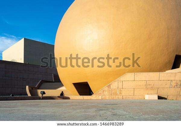 TIJUANA, BAJA CALIFORNIA / MEXICO, JULY 28 2019: View of the IMAX dome at Cultural center of Tijuana (Centro cultural Tijuana (CECUT)