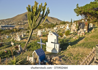 TIJUANA - FEB 11: Favela Style cemetery at Tijuana, Baja California, Mexico on February 11, 2016 near the International Border and San Diego, California.