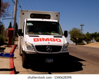 Tijuana, Mexico - August 31, 2015: Front view of bread delivery van of firm called 'Bimbo'