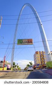 TIJUANA, MEXICO - FEBRUARY 26 2014: The Millennial Arch (Arco y Reloj Monumental) at the entrance of Avenida de revolucion, at zona centro and a landmark that welcomes tourists, Bienvenidos a Tijuana.