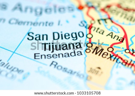 Tijuana Mexico On Map Stock Photo Edit Now 1033105708 Shutterstock