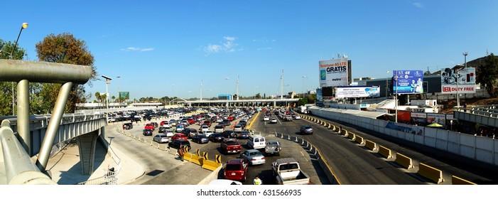 TIJUANA, MEXICO - SEPTEMBER 8, 2015: Traffic at San Ysidro Port of Entry, entering USA from Mexico.