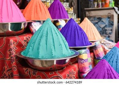 Tika Colour powder piles sold on the market sale to celebrate Holi, Festival of colors Jaipur, Rajasthan and Tihar Deepawali Assam, Mumbai Mysore India.