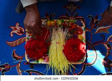 Tika and Jamara - Hindu culture in festival of Dashain