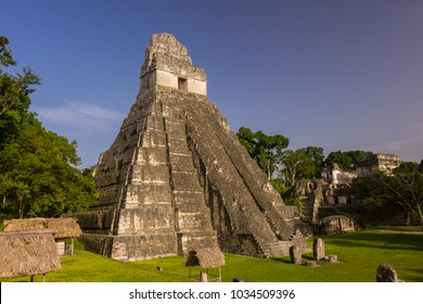 TIKAL, GUATEMALA - AUGUST 10, 2008: Temple I, Temple of the Jaguar,  at the Mayan ruins of Tikal, located  in El Peten department, Tikal National Park.