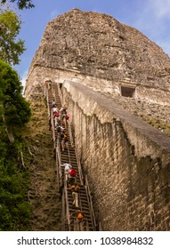 TIKAL, GUATEMALA - AUGUST 11, 2008: Tourists climb steep wooden stairs to top of Temple V, at the Mayan ruins of Tikal, located  in El Peten department, Tikal National Park.