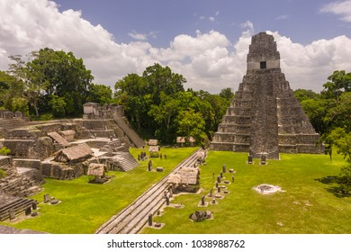 TIKAL, GUATEMALA - AUGUST 11, 2008: Temple I, the Temple of the Jaguar, in the Grand Plaza, at the Mayan ruins of Tikal, located  in El Peten department,, Tikal National Park.