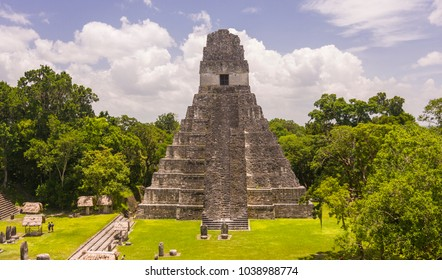 TIKAL, GUATEMALA - AUGUST 11, 2008: Temple I, the Temple of the Jaguar, in the Grand Plaza, at the Mayan ruins of Tikal, located  in El Peten department, Tikal National Park.
