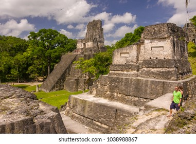 TIKAL, GUATEMALA - AUGUST 11, 2008: Temple II, in the Grand Plaza, at the Mayan ruins of Tikal, located  in the El Peten department, Tikal National Park.