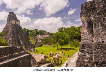 TIKAL, GUATEMALA - AUGUST 11, 2008: Temple I, left, at the Mayan ruins of Tikal, located  in El Peten department, Tikal National Park.