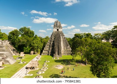 TIKAL, GUATEMALA - NOVEMBER 26: Unidentified people view Temple 1, also known as the Jaguar Temple, in Tikal National Park on November 26, 2017 in Tikal.