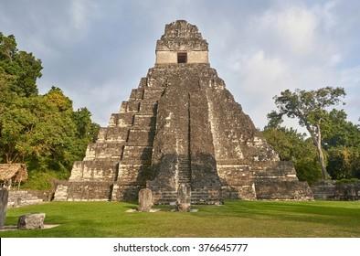 Tikal pyramids, a mayan site in Guatemala