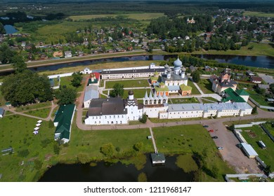 The Tikhvin Deiparous Uspensky monastery in the sunny July afternoon (shooting from the quadcopter). Tikhvin, Russia