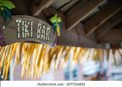 Tiki Bar on the patio of a riverfront bar.