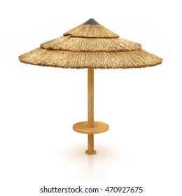 Tiki hut umbrella isolated on white