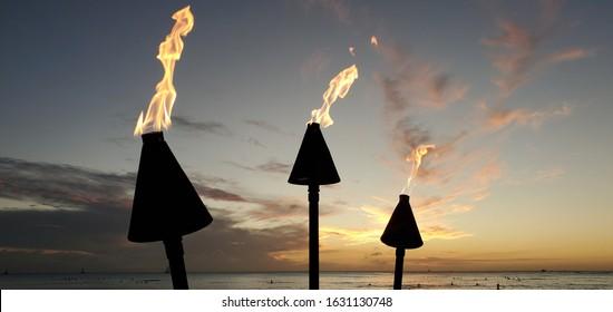 Tiki Torch Sunset in Waikiki Beach