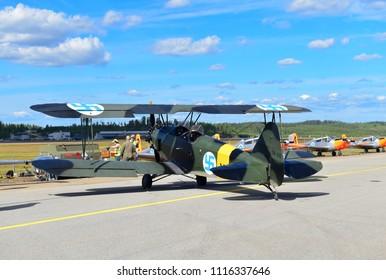 TIKKAKOSKI, FINLAND - JUN 16, 2018 : Valmet Viima airplane at Finnish Air Force 100th Anniversary Airshow