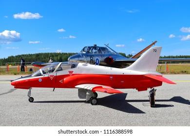 TIKKAKOSKI, FINLAND - JUN 16, 2018 : Miniature aircraft of BAE Systems Hawk airplane(2 seats) at Finnish Air Force 100th Anniversary Airshow