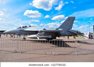 TIKKAKOSKI, FINLAND - JUN 16, 2018 : Boeing EA-18G 'Super Hornet' Jet fighter at Finnish Air Force 100th Anniversary Airshow