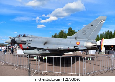 TIKKAKOSKI, FINLAND - JUN 16, 2018 : Jet fighter 'Eurofighter Typhoon' from spain at Finnish Air Force 100th Anniversary Airshow