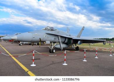 TIKKAKOSKI, FINLAND - JUN 16, 2018 : Boeing F/A 18 Hornet Jet fighter at Finnish Air Force 100th Anniversary Airshow