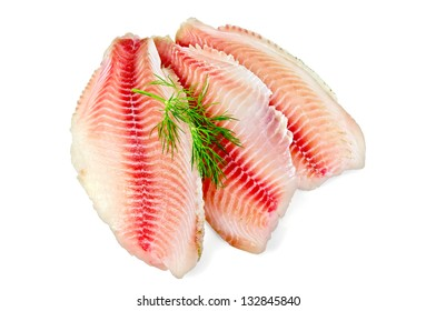 Tilapia fillets with dill isolated on a white background